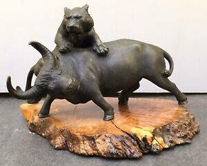 Japanese Meiji Bronze Okimono Tigers With Bull Signed