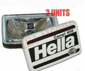 2 Universal Hella Comet 450 Spot Driving Light With Cover H3 Bulb 55w 12v Cad