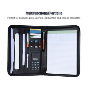 Zippered File Case Portfolio Folder Card Holder Note Pad With Calculator Us L5t1