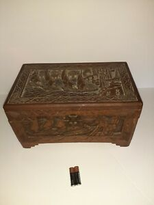 Mid Century Chinese High Relief Wood Carving Camphor Chest Brass Fitting