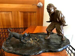 Japanese Antique Bronze Okimono Hanasaka Jisan His Dog