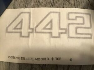 1985 87 Oldsmobile 442 Front Door Side Decal Gold 22528708 Sold As Set