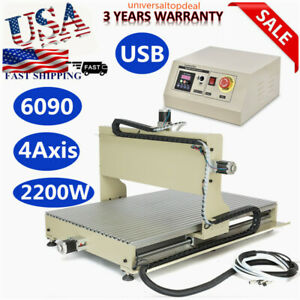 Usb 4 Axis 6090 Cnc Router Engraver Meta Woodwork Drilling Milling Machine 2200w