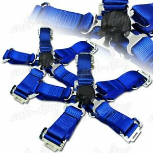 Jdm 2 Durable Nylon 5 Point Cam Lock Safety Harness Seat Belt Blue X2
