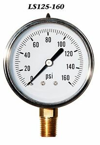 2 1 2 Pressure Gauge Stainless Steel Case Liquid Filled 0 160 Psi Lwr Mnt