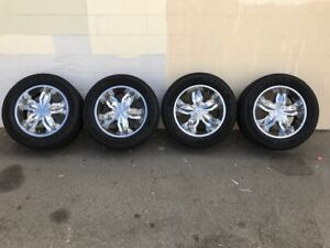 6 Lug Motto 20 Wheels With Goodyear Eagle Gt Tires For 1 2 Ton Chevy gmc