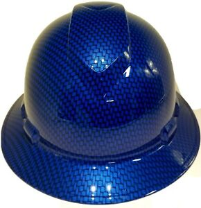 New Full Brim Hard Hat Custom Hydro Dipped Electric Blue Big Weave Carbon Fiber