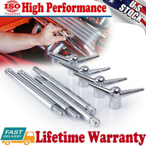4pcs Chrome Valve Rocker Cover Hold Down Wing Nuts Bolts Studs For Ford Chevy V8
