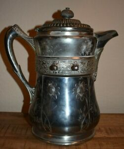 Wilcox Silver Co Silverplate Porcelain Lined Water Pitcher Antique Pat 1870 S