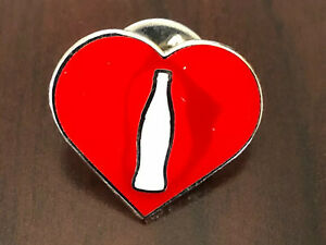 Coca Cola pin Pinback Button Heart Red Bottle
