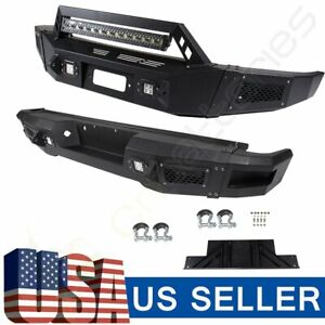 Black Complete Front Rear Bumper For Ford F 150 09 14 Steel Hard Led Lights