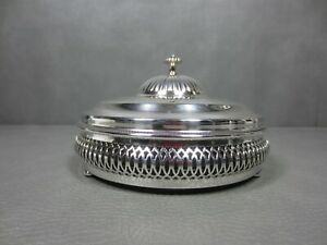 Silver Plated Lidded Pierced Serving Dish With Glass Insert Triple Divided