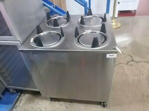 Used 4 Tube Commercial 9 5 10 Max Plate Dispenser Spring Loaded On Casters