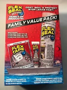 Flex Seal Family Value Pack Includes Flex Clear tape Clear Flex Glue Clear New