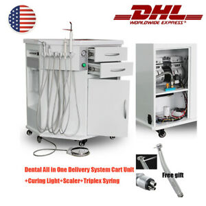 Dental Mobile All In One Delivery System Cart Unit Curing Light Scaler Handpiece