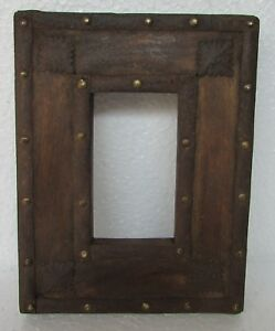 Vintage Old Picture Photo Frame Wooden Iron Brass Fitted Hand Carved Collectible