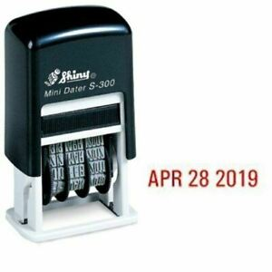 Shiny Self inking Rubber Date Stamp S 300 Mini Line Dater Red Ink