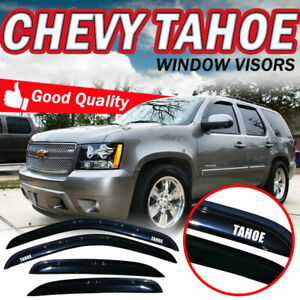 For 07 14 Chevy Tahoe Smoke Slim Window Visor Rain Vent Tape On Deflector Guards