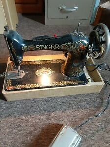 Working Vintage Singer Red Eye Treadle Sewing Machine