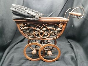 Victorian Vintage Doll Display Baby Buggy Stroller Carriage Wicker Wood Iron