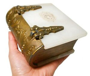 19th C Victorian Antique White Marble Faux Book Box W Fancy Brass Plated Hinges