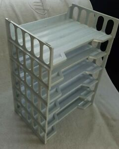 Stackable Desktop Document Letter Paper Tray Organizer Set Of 6 Gray Excellent