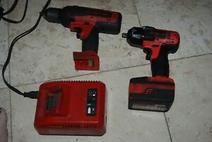 Snap On 18 V Cordless Lithium 1 2 Drill And 3 8 Impact With Battery Charger