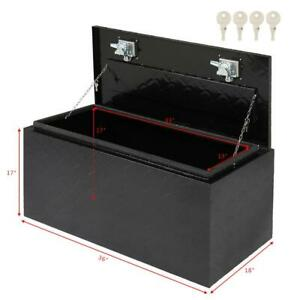36 Black Aluminum Pickup Truck Trunk Bed Tool Box Trailer Storage Lock