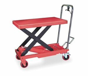 Dayton 6w803 Scissor Lift Cart 1000 Lb steel fixed b