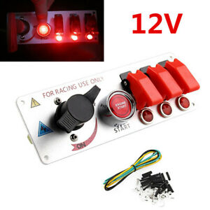 Universal Car 12v Led Toggle Ignition Switch Panel Engine Start Push Buttons Kit
