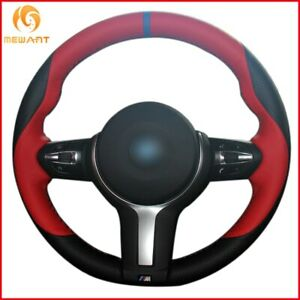Black Red Genuine Leather Car Steering Wheel Cover For Bmw F87 M2 F80 M3 F82 A57