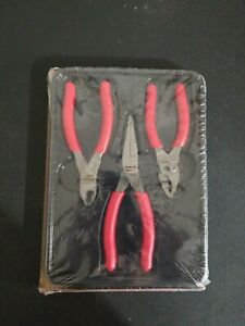New Snap On Tools 3pc Pliers Needle Nose Cutters Set Red Pl305acf