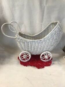 Vtg White Wood Wicker Hooded Doll Buggy Stroller Baby Carriage Nice