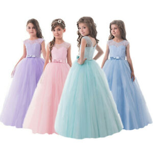 Flower Girl Kids Pageant Party Long Lace Wedding Birthday Prom Gown Formal Dress $16.98
