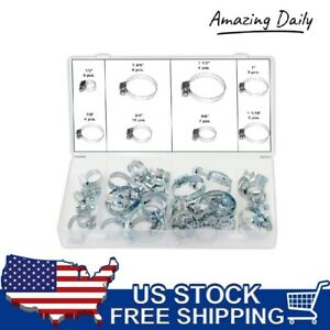 40 Pc Hose Clamp Assortment Set Sizes 1 2 To 1 1 2 Gear Type Assorted Clamps