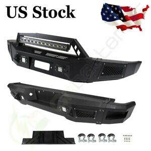 Front Rear Bumper For Ford F 150 09 14 Steel Solid Black Complete Led Lights