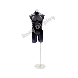 Adult Male Black Plastic Body Mannequin Torso Display With Round Metal Base