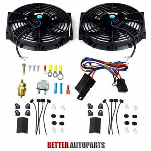 Dual 10 Inch Universal Electric Radiator Cooling Fan thermostat Mount Kit Black