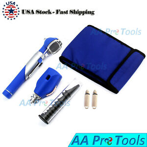 Fiber Optic Otoscope Ophthalmoscope Led Ent Diagnostic Examination Set Blue