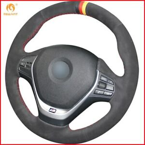 Black Suede Black Red Yellow Marker Steering Wheel Cover For Bmw F20 F30 A63