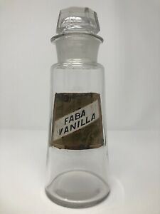 Antique 1800s Apothecary Bottle W Stopper Lid Label Under Glass Faba Vanilla