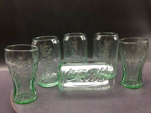 Coca Cola Can Shaped Glasses~12 Ounce Set of 4 Cup + 2 Bell Shaped Mini Coke