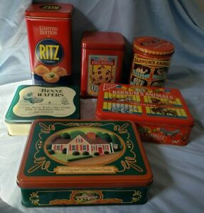 Lot of 6 assorted Vintage Tin Cans Cookie Brands  Barnum Ritz Benne Morsels...