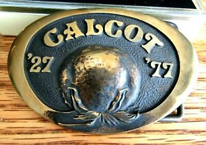 1927 1977 Calcot Cotton Coop Solid Brass Comm Cotton Boll Belt Buckle W box