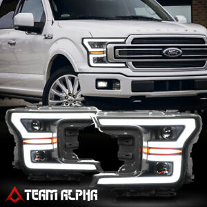 Fits 2018 2020 F150 Led C Bar Sequential Signal Black Clear Projector Headlight