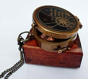 Antique Vintage Nautical Engraved Compass W Stamped Leather Case Halloween Gift