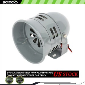 5 Gray Air Raid Siren Horn Alarm Vintage Compact Automotive For Car Truck 12v
