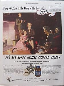 Serviceman and WAC with Family at Christmas Time Maxwell Coffee WWII Ad  2 diiff