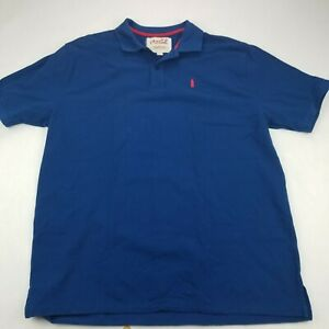 Coca Cola Polo Shirt Mens Sz L Blue SS Embroidered Bottle Advertising