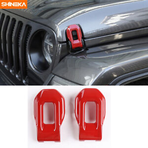Front Engine Hood Lock Latch Buckle Cover Trim For Jeep Wrangler Jl Jt 2018 Red